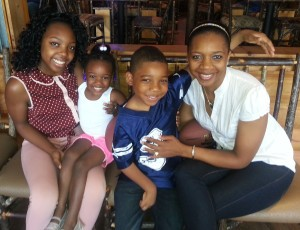 Josh with his mother Vera (right) and his sisters at a marrow drive in Dallas TX